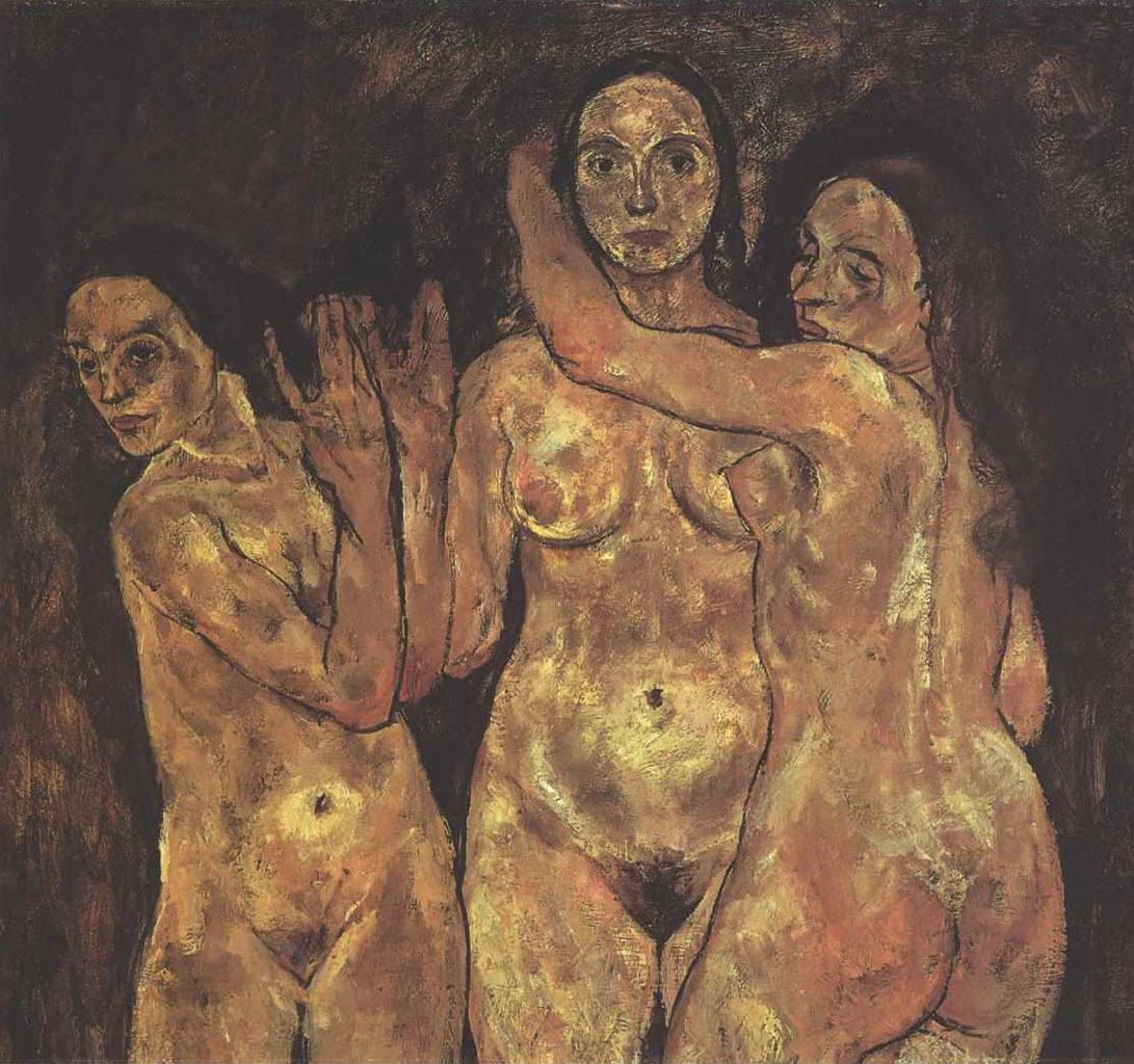 "Эгон Шиле (Egon Schiele), ""Three staying female nudes"""