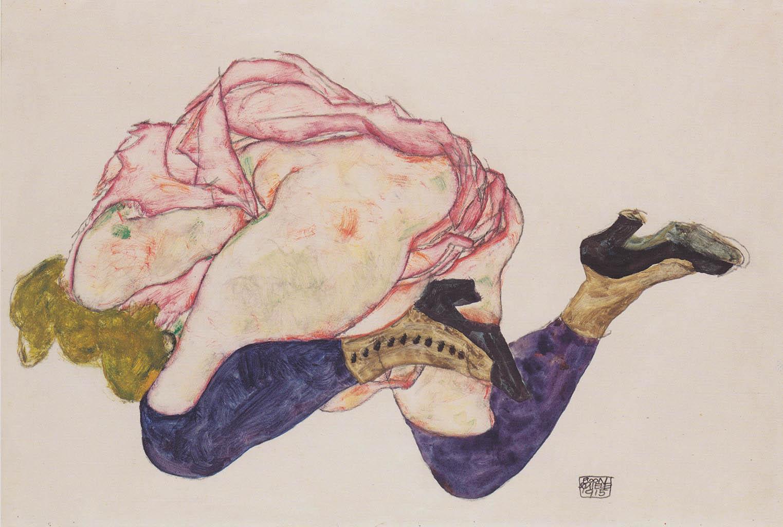 "Эгон Шиле (Egon Schiele), ""Kniende mit hinunter gebeugtem Kopf"""