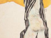 """Эгон Шиле (Egon Schiele), """"Liegender Madchenakt im gestreiften Kittel"""""""