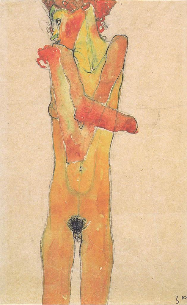 """Эгон Шиле (Egon Schiele), """"Madchenakt mit verschrankten Armen"""""""