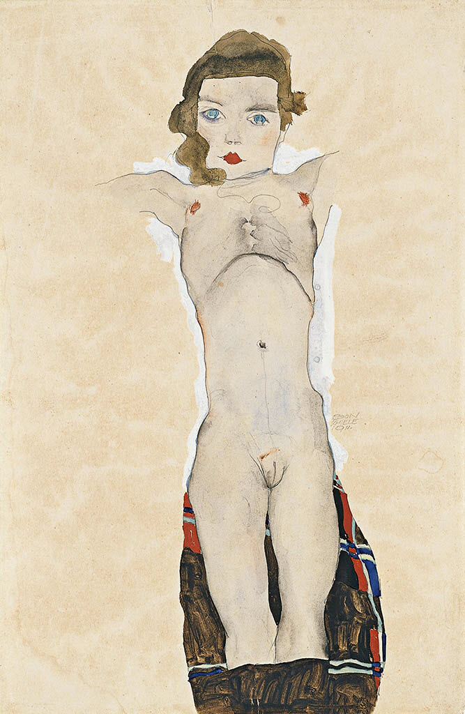 "Эгон Шиле (Egon Schiele), ""Seated Girl (Poldi Lodzinsky)"""
