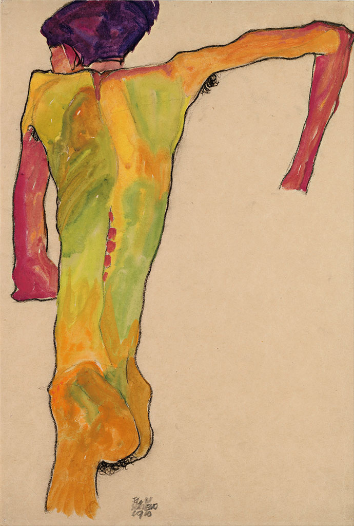 "Эгон Шиле (Egon Schiele), ""Male Nude, Propping Himself Up"""