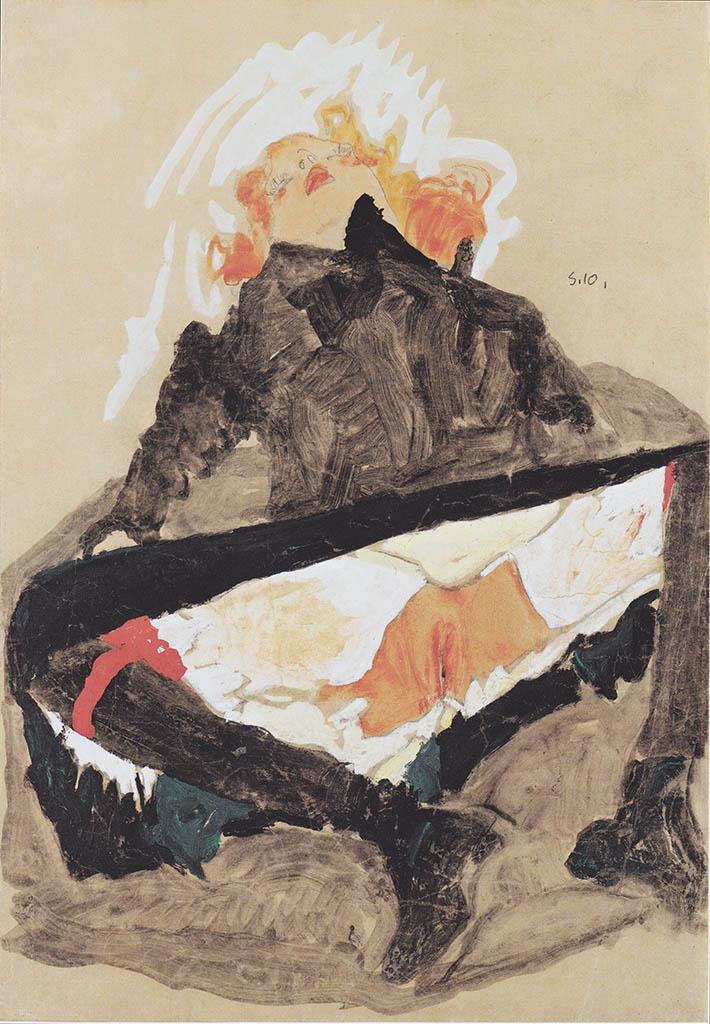 """Эгон Шиле (Egon Schiele), """"Rothaariges Madchen in schwarzem Kleid mit gespreizten Beinen"""""""