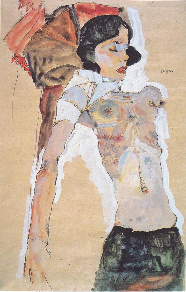 """Эгон Шиле (Egon Schiele), """"Liegendes, halbbekleidetes Madchen"""""""