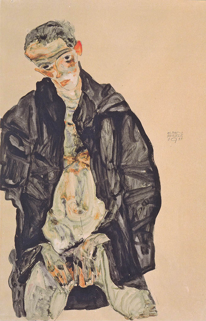 "Эгон Шиле (Egon Schiele), ""Selbstbildnis als Halbakt in schwarzer Jacke"""