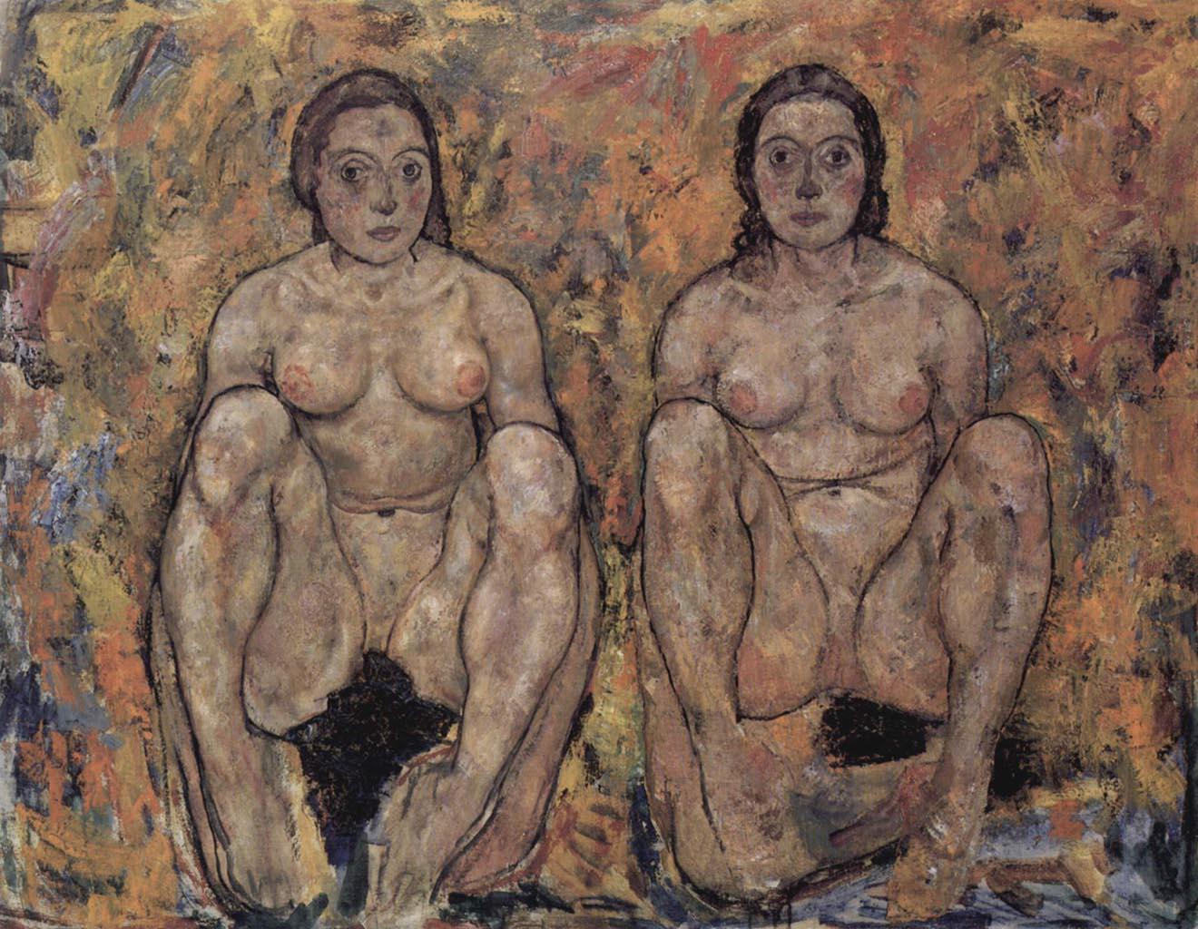 """Эгон Шиле (Egon Schiele), """"Сидящие женщины"""""""