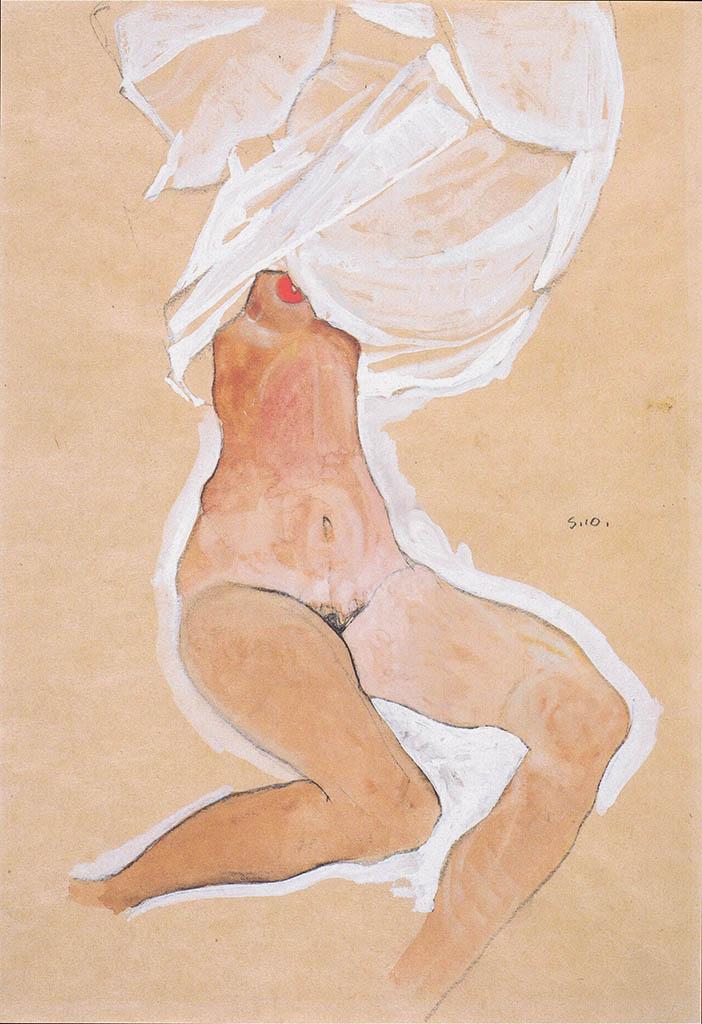 "Эгон Шиле (Egon Schiele), ""Sitzender Madchenakt mit Hemd uber dem Kopf"""