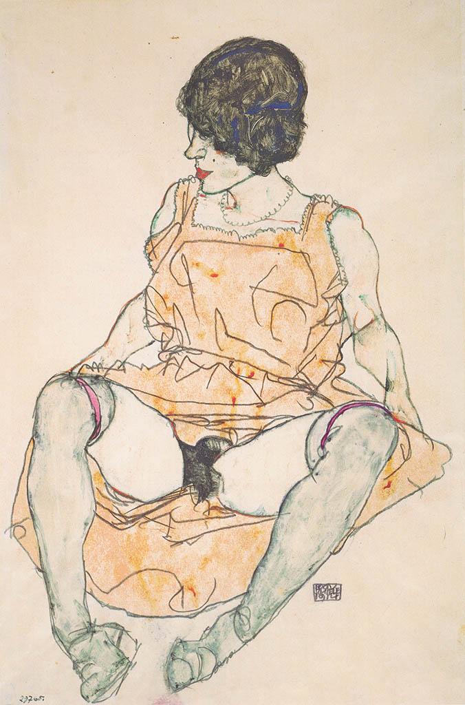 "Эгон Шиле (Egon Schiele), ""Sitzende Frau mit hochgeschobenem Kleid"""