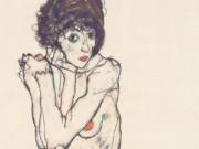 """Эгон Шиле (Egon Schiele), """"Sitzender weiblicher Akt mit aufgestutzen Ellbogen"""""""