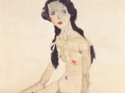 """Эгон Шиле (Egon Schiele), """"Sitzendes Madchen mit Pferdeschwanz"""""""