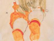 """Эгон Шиле (Egon Schiele), """"Sitzendes Madchen mit herabfallendem Haar"""""""