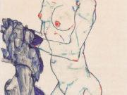 """Эгон Шиле (Egon Schiele), """"Stehender weiblicher Akt mit blauem Tuch"""""""