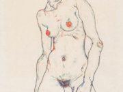 """Эгон Шиле (Egon Schiele), """"Stehender weiblicher Akt mit Strumpfen"""""""