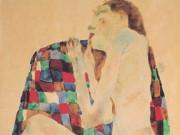"""Эгон Шиле (Egon Schiele), """"Weiblicher Akt auf kariertem Tuchl"""""""