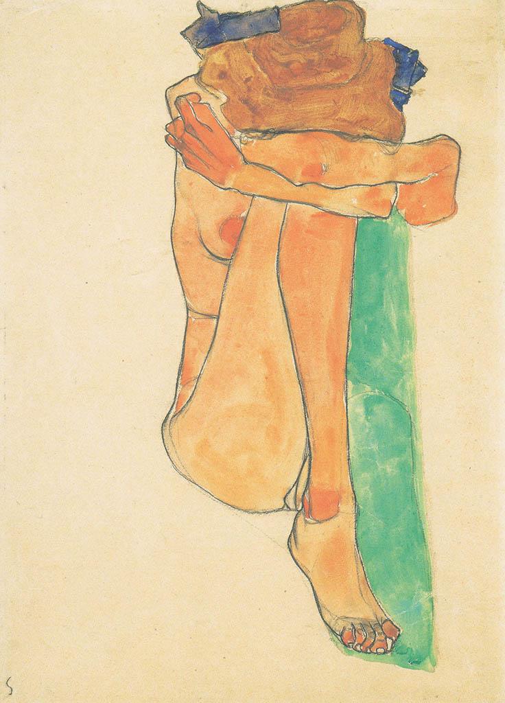 """Эгон Шиле (Egon Schiele), """"Weiblicher Akt mit grunem Polster"""""""