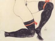 """Эгон Шиле (Egon Schiele), """"Liegender Halbtakt mit schwarzen Strumpfen"""""""