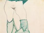 """Эгон Шиле (Egon Schiele), """"Weiblicher Torso mit gruner Draperie"""""""