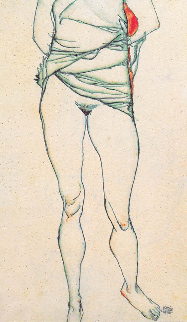 """Эгон Шиле (Egon Schiele), """"Weiblicher Torso mit hochgezogenem Hemd"""""""