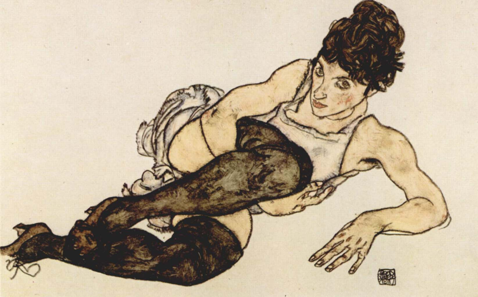 "Эгон Шиле (Egon Schiele), ""Woman with Green Stockings"""