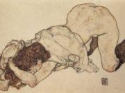 """Эгон Шиле (Egon Schiele), """"Kniendes Madchen, auf beide Ellenbogen gestutzt"""""""