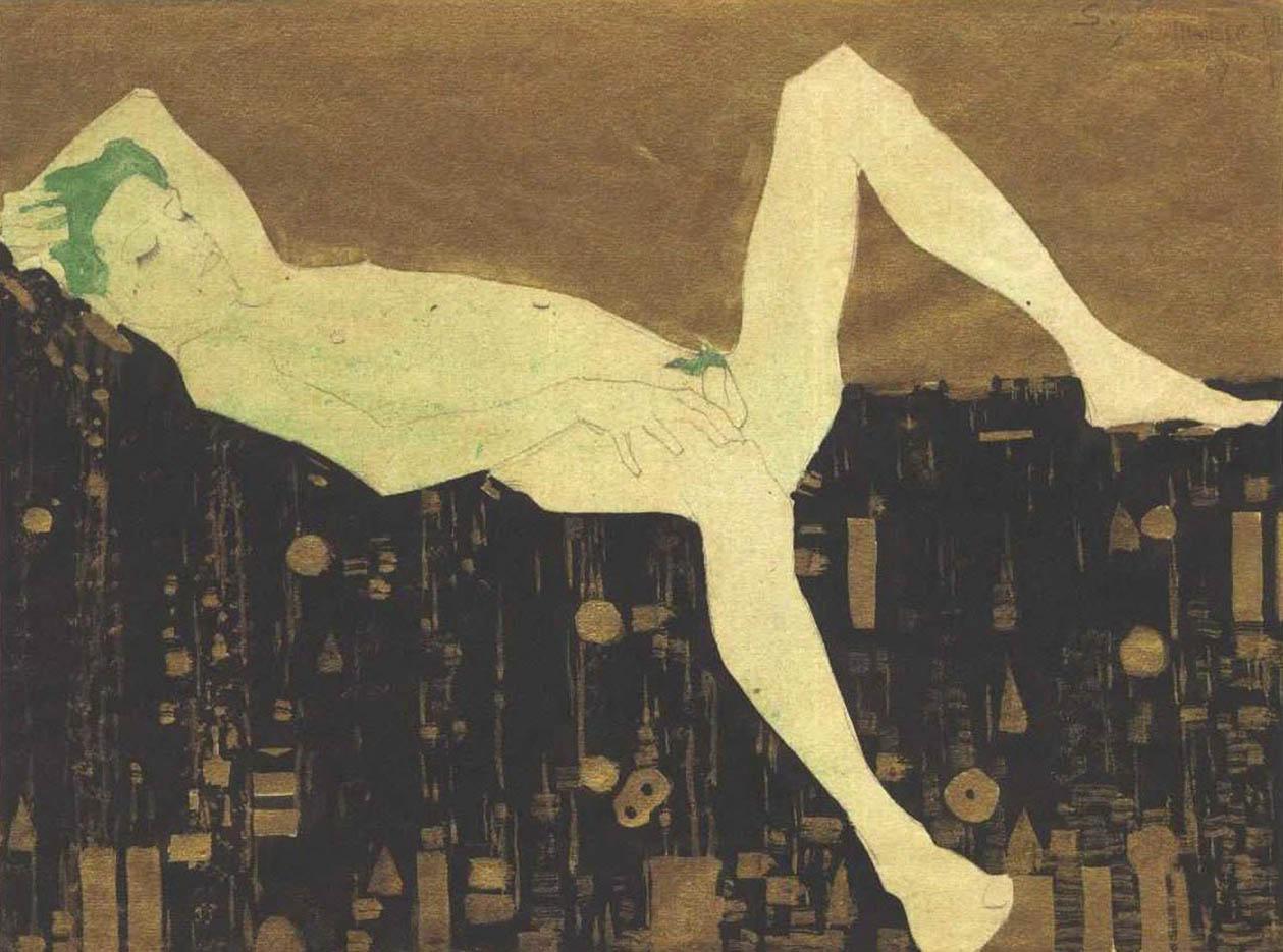 "Эгон Шиле (Egon Schiele), ""Nacked boy lying on a patterned blankett"""
