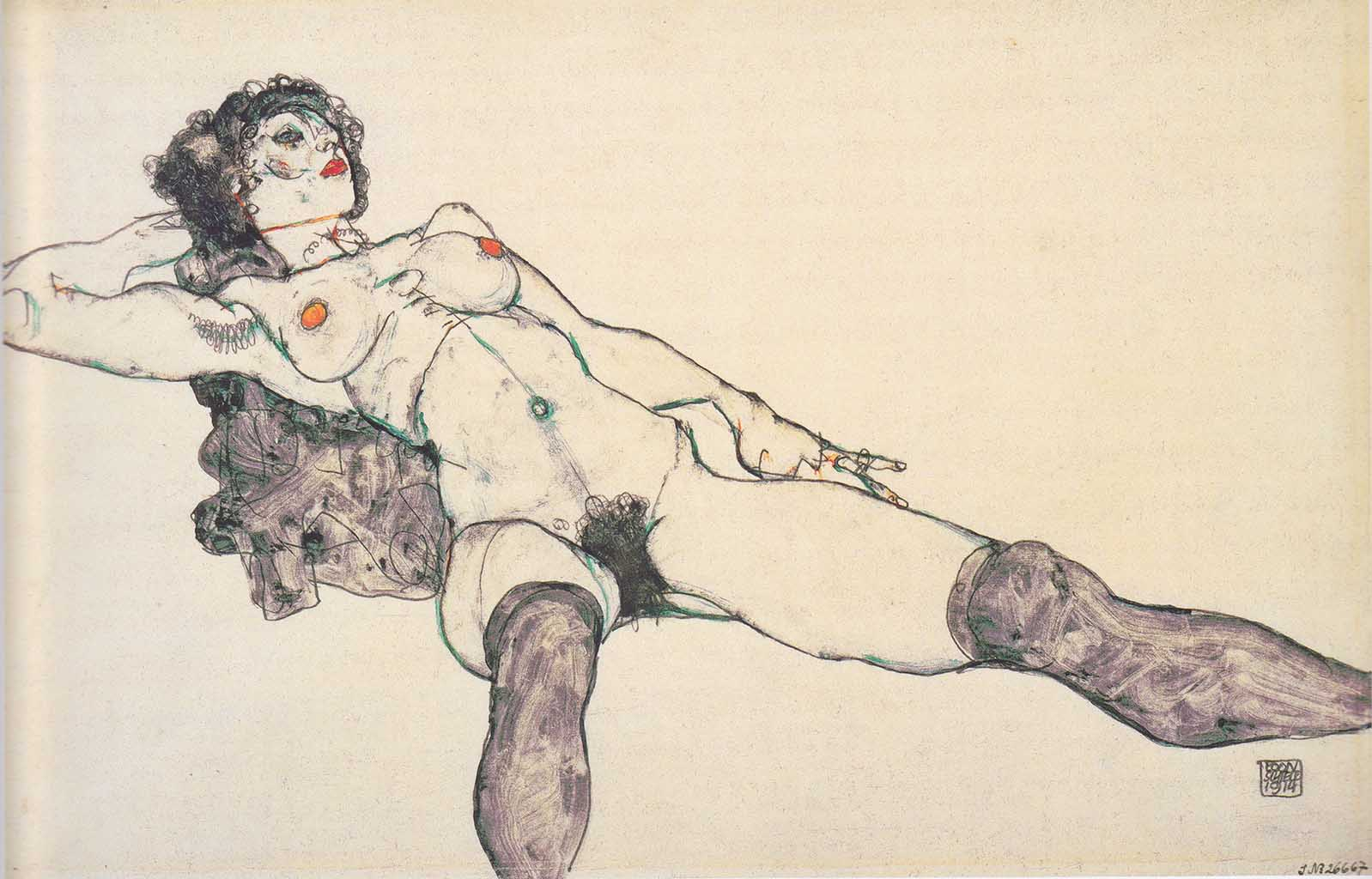 """Эгон Шиле (Egon Schiele), """"Liegender weiblicher Akt mit gespreizten Beinen"""""""