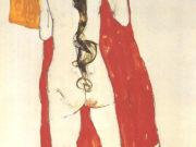 """Эгон Шиле (Egon Schiele), """"Madchenrucken mit langem Zopf"""""""