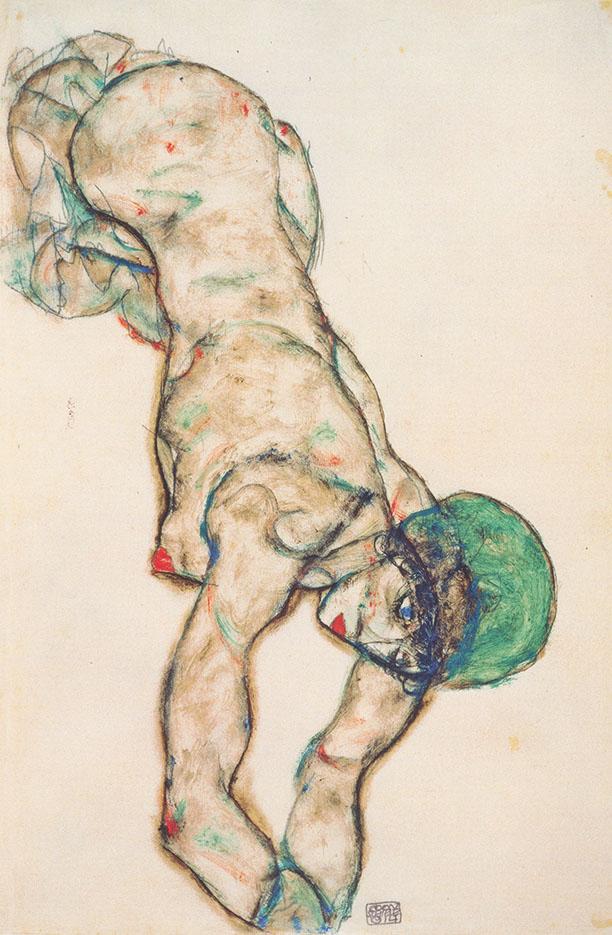 "Эгон Шиле (Egon Schiele), ""Frauenakt mit gruner Haube"""
