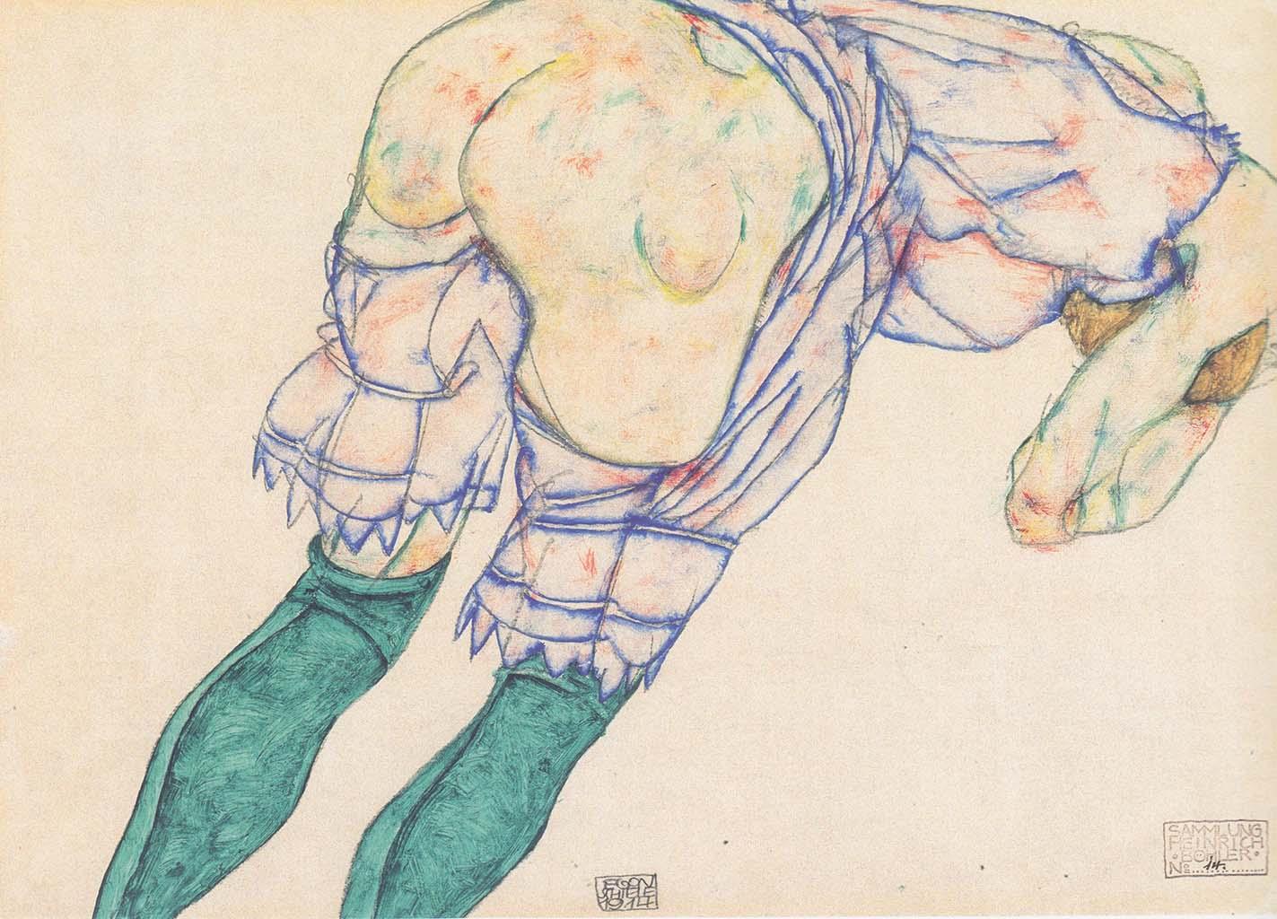 """Эгон Шиле (Egon Schiele), """"Madchen mit grunen Strumpfen"""""""