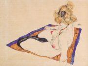 """Эгон Шиле (Egon Schiele), """"Blondes Aktmodel auf braunem Tuch sitzend"""""""