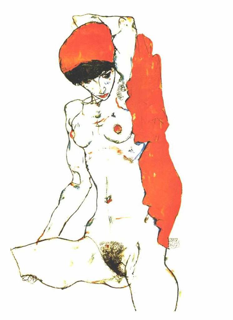 """Эгон Шиле (Egon Schiele), """"Akt mit orangeroter Draperie"""""""