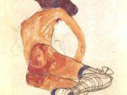 """Эгон Шиле (Egon Schiele), """"Sitzender weiblicher Akt mit blauem Strumpfband"""""""