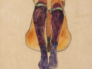 """Эгон Шиле (Egon Schiele), """"Sitzender Akt mit lila Strumpfen"""""""