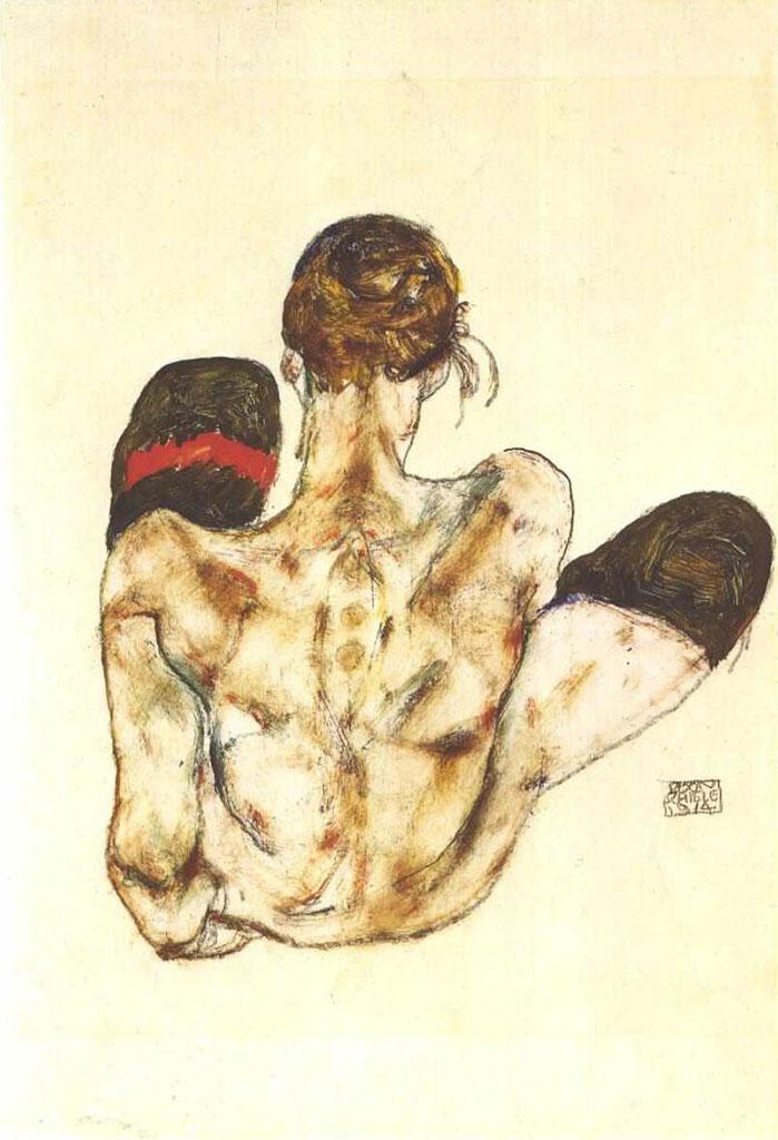"""Эгон Шиле (Egon Schiele), """"Sitzender Ruckenakt mit rotem Strumpfband"""""""