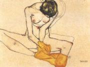"""Эгон Шиле (Egon Schiele), """"Sitzende mit gelben Tuch"""""""