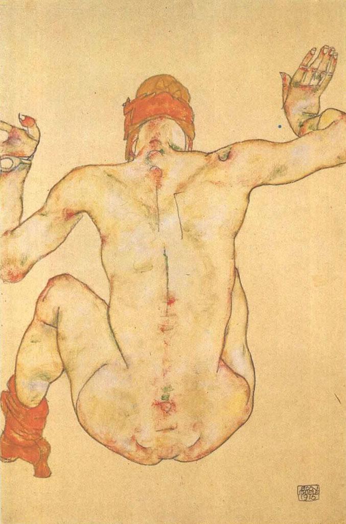 """Эгон Шиле (Egon Schiele), """"Sitzender weiblicher Ruckenakt"""""""