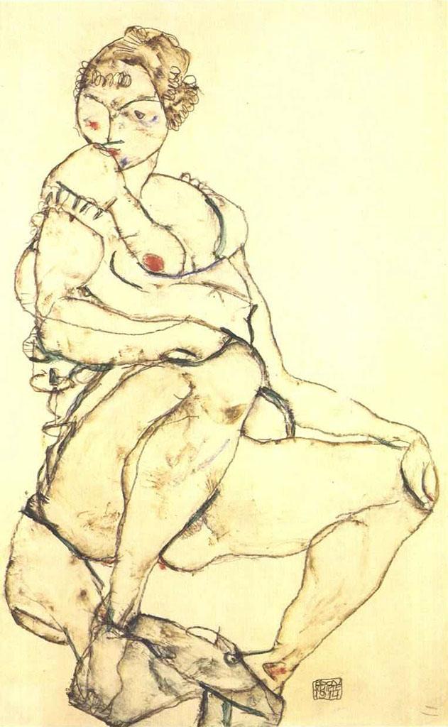 "Эгон Шиле (Egon Schiele), ""Sitzender Halbtakt"""