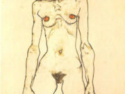 "Эгон Шиле (Egon Schiele), ""Staying female nude with red stockings"""