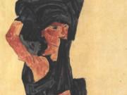 "Эгон Шиле (Egon Schiele), ""Kneeling undressing female nude"""