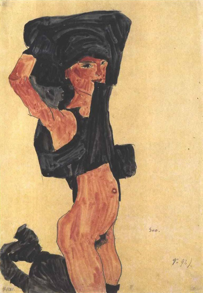 "Эгон Шиле (Egon Schiele), ""Kneeling undressing female nude"""