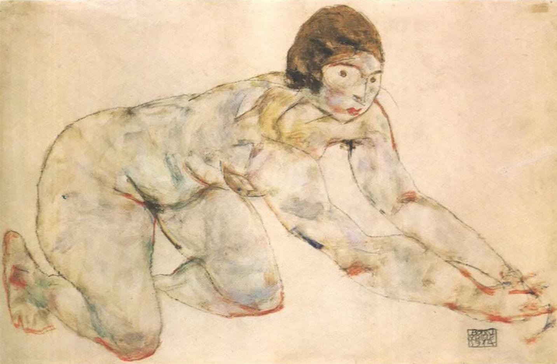 "Эгон Шиле (Egon Schiele), ""Kneeling female nude"""