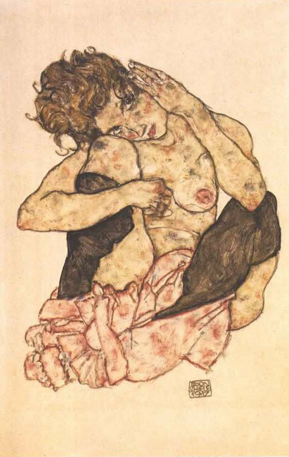 "Эгон Шиле (Egon Schiele), ""Crouching female nude with hand at the cheek"""