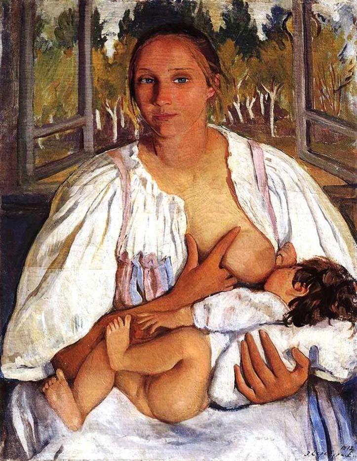"""Зинаида Серебрякова (Zinaida Serebriakova), """"Кормилица с ребёнком"""""""