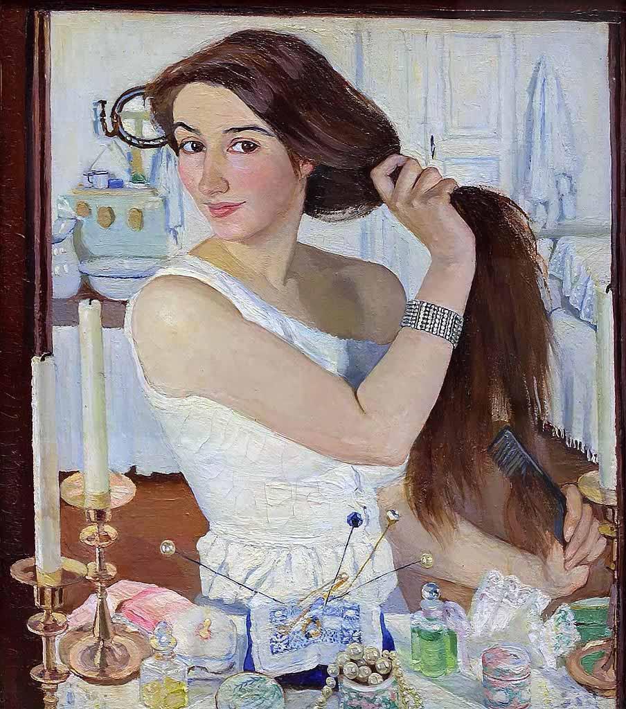"Зинаида Серебрякова (Zinaida Serebriakova), ""За туалетом. Автопортрет"""