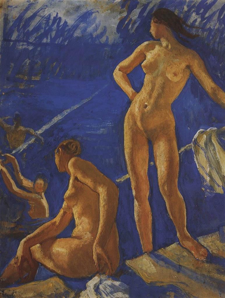 """Зинаида Серебрякова (Zinaida Serebriakova), """"Купание"""""""