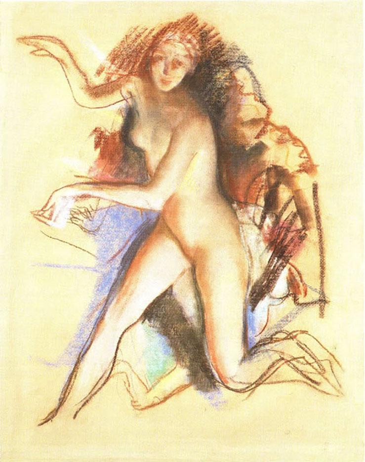 """Зинаида Серебрякова (Zinaida Serebriakova), """"Обнажённая - 2"""""""