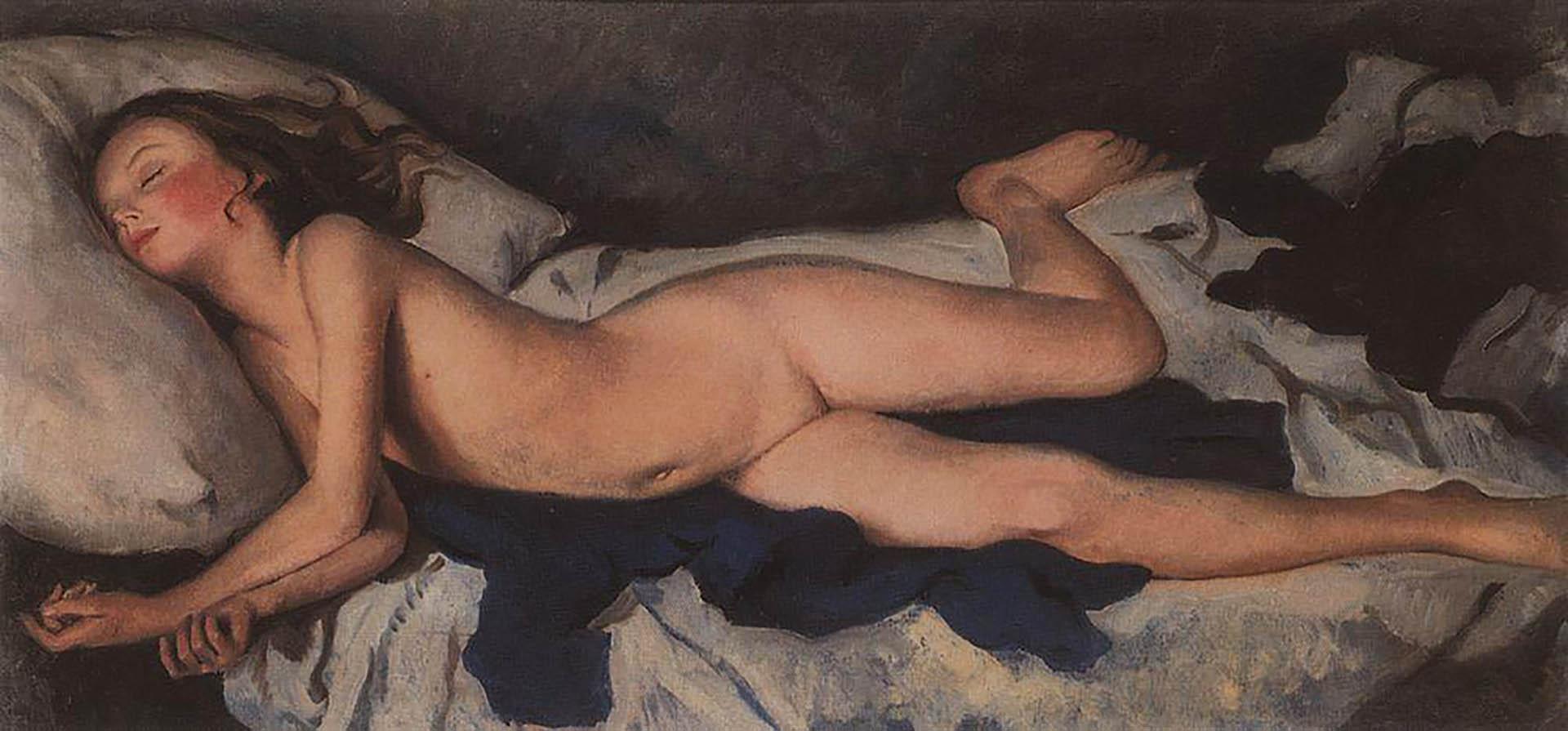 "Зинаида Серебрякова (Zinaida Serebriakova), ""Спящая девочка на синем (Катюша на одеяле)"""