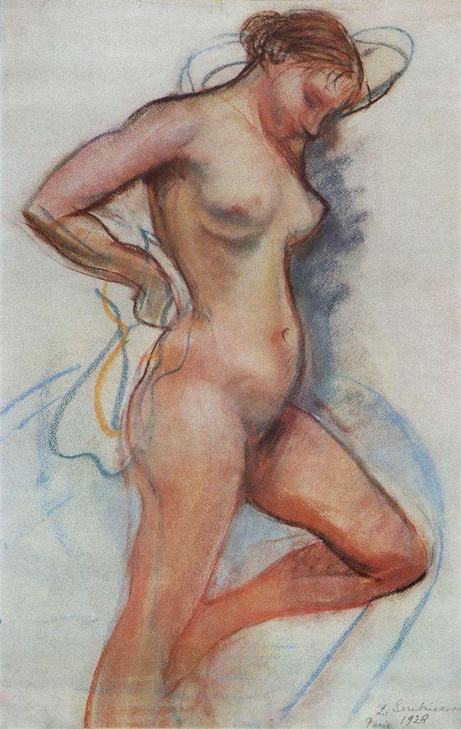 """Зинаида Серебрякова (Zinaida Serebriakova), """"Выходящая из ванны"""""""