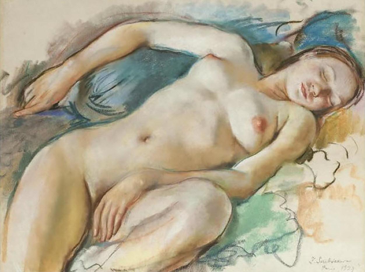 "Зинаида Серебрякова (Zinaida Serebriakova), ""Лежащая обнажённая"""
