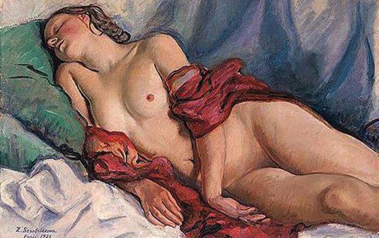 """Зинаида Серебрякова (Zinaida Serebriakova), """"Спящая обнажённая с красной шалью"""""""